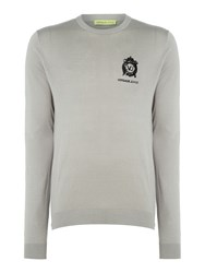 Versace Men's Embroidered Logo Crew Neck Knitted Jumper Grey
