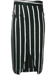 Each X Other Striped Wrap Front Pencil Skirt Black