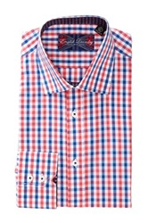English Laundry Long Sleeve Modern Fit Flower Lined Two Tone Gingham Dress Shirt Blue