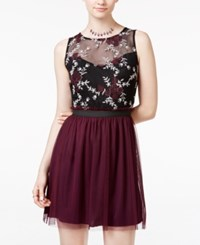 Speechless Juniors' Contrast Lace Tulle Dress Black Plum