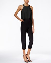 Bar Iii Colorblocked Popover Jumpsuit Only At Macy's Deep Black
