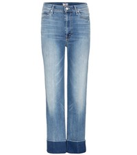 Mother The Maverick Cuff High Rise Cropped Jeans Blue