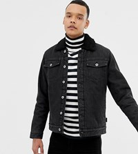 D Struct Tall Borg Lined Denim Trucker Jacket Washed Black