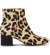 Dune Packham Leather Ankle Boots Leopard Leather