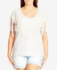 City Chic Plus Size Short Sleeve Fringe T Shirt Creme