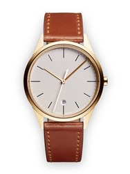 Uniform Wares C36 Women's Date Watch In Pvd Satin Gold With Tan Cordovan Leather Brown