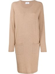 Allude Fine Knit Sweater Dress Brown