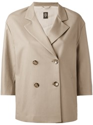 Eleventy Double Breasted Jacket Women Cotton Polyester Spandex Elastane Acetate 40 Nude Neutrals