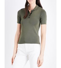 Claudie Pierlot Fitted Polo Collar Top Kaki