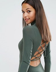 Club L High Neck Bodysuit With Lace Up Back Khaki Green