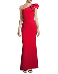 Betsy And Adam Embellished One Shoulder Gown Red