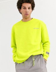 Sixth June Reflective Logo Sweater In Lime Yellow