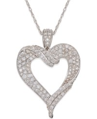 Macy's Diamond Heart Pendant Necklace 1 1 8 Ct. T.W. In 14K White Gold