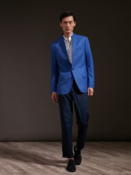 Shanghai Tang Wool Silk One Button Blazer Royal Blue