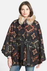 Pendleton Blanket Cape With Genuine Coyote Fur Black