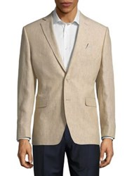 Black Brown Classic Linen Jacket Tan