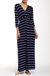 Peach Love California Striped Maxi Dress Blue