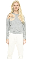 3.1 Phillip Lim Lace Embroidered Sweatshirt Charcoal