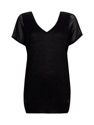 Wallis Black V Neck Metallic Jumper