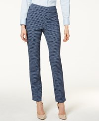 Charter Club Printed Cambridge Slim Ankle Pants Only At Macy's Deepest Navy Combo
