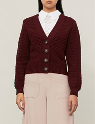 See By Chloe Textured Chunky Knit Cotton Cardigan Obscure Purple