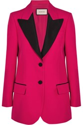 Gucci Faille Trimmed Wool And Silk Blend Crepe Blazer Fuchsia