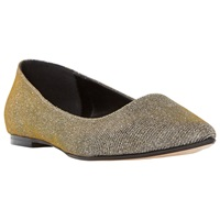 Dune Amerie Flat Toe Point Pumps Gold