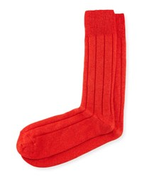 Neiman Marcus Cashmere Blend Ribbed Socks Orange