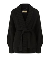 Burberry Chunky Knit Belted Cardigan Female Black