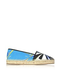 Emilio Pucci Turquoise Printed Cotton And Leather Espadrilles