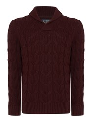 Howick Men's Anderson Cable Shawl Neck Cotton Jumper Claret