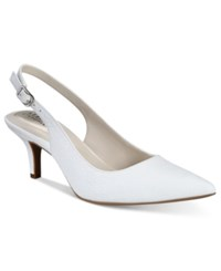 Alfani Women's Babbsy Pointed Toe Slingback Pumps Only At Macy's Women's Shoes White
