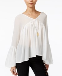 Fair Child Pleated Bell Sleeve Blouse Winter White