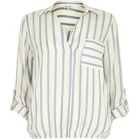 River Island Womens Blue Stripe Bubble Hem Blouse