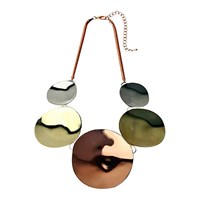 Adele Marie Polished Disc Statement Necklace Rose Gold Multi