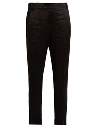 Elizabeth And James Foster Satin Mid Rise Cropped Trousers Black
