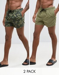 Asos Swim Shorts 2 Pack In Khaki And Camo Print In Short Length Khaki Green