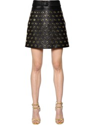 Elie Saab Gold Eyelets Nappa Leather Mini Skirt