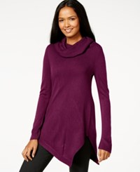 Ny Collection Cowl Neck Asymmetrical Tunic Sweater Dark Purple