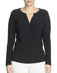 Chaus Long Sleeve Banded Wrap Top Rich Black