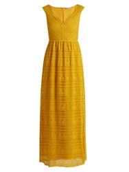 Red Valentino Sleeveless V Neck Lace Dress Yellow