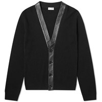 Saint Laurent Cashmere Leather Detail Cardigan Black