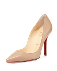 Christian Louboutin Apostrophy Pointed Red Sole Pump Nude