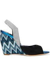 Rupert Sanderson Zara Crocheted Suede And Pvc Wedge Sandals Black