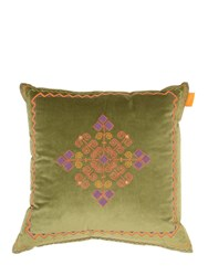 Etro Ben Nevis Cotton And Silk Pillow Green