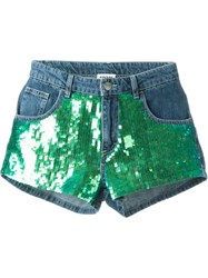 Au Jour Le Jour Sequin Panel Denim Shorts Blue