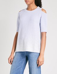 Zoe Jordan Aristotle Wool And Cashmere Blend Top Blue Silver