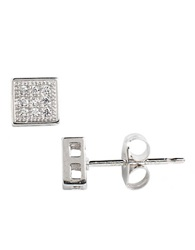 Lord And Taylor Sterling Silver And Cubic Zirconia Pave Square Stud Earrings