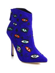 Isa Tapia Juliette Embroidered Suede Point Toe Booties Blue Multi