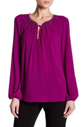 T Tahari Natasha Long Sleeve Blouse Purple